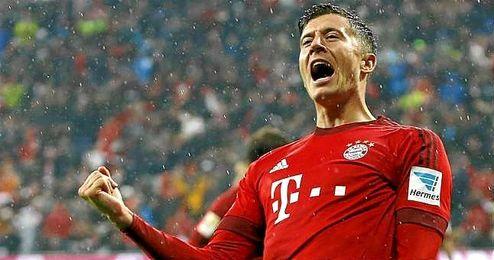 Robert Lewandowski, celebrando uno de sus tantos ante el Hoffenheim.