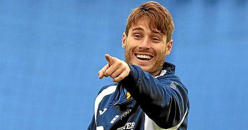 Erice durante un entrenamiento con el Oviedo
