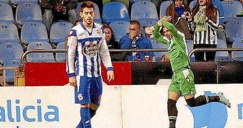 Rubén Castro celebra un gol en Riazor.