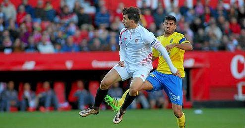 Juan Muñoz ha buscado su ocasión ante Las Palmas.