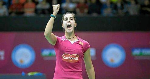 En la imagen, Carolina Marín celebrando un punto conseguido.