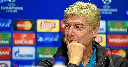 Arsene Wenger, durante la rueda de prensa de Champions.