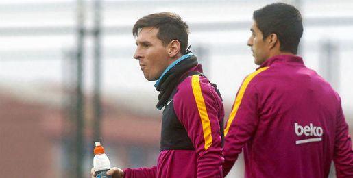 Messi y Suárez, durante un entrenamiento.