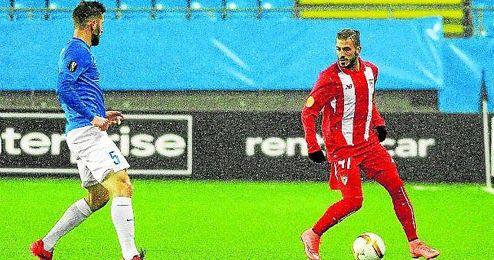 Diogo Figueiras se reestrenó como sevillista en el partido del jueves en Molde.