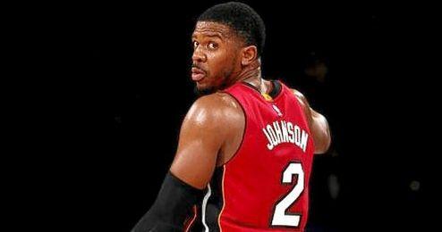 Joe Johnson debutó con los Heats este domingo.