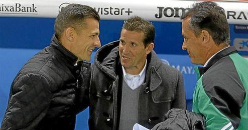 Merino, con Galca antes del partido.