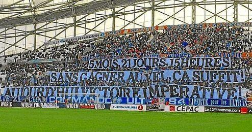 Imagen de la pancarta en el Velodrome.