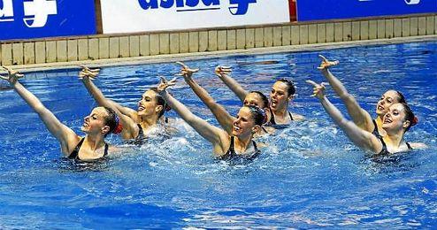 Imagen del equipo español de natación sincronizada.