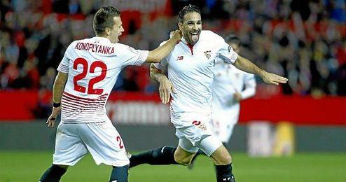 Rami celebra un gol con el Sevilla.