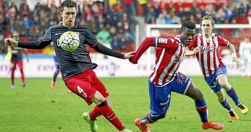 Imagen de Laporte, en el partido ante el Sporting.