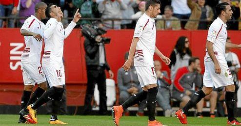 Reyes celebra junto a sus compañeros el importante 4-2 logrado frente al Villarreal