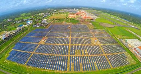 Imagen del Aeropuerto solar de Cochin, en la India.