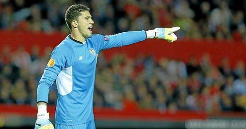 David Soria, durante el partido ante el Basilea.