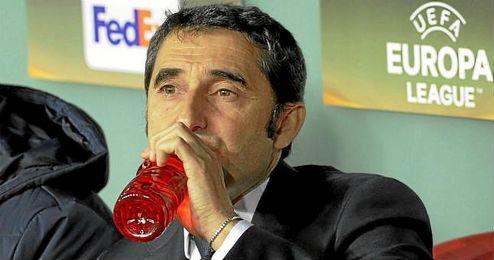 Valverde, en un partido de Europa League con el Athletic.