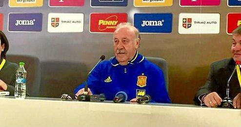 El seleccionador Vicente del Bosque, en sala de prensa.