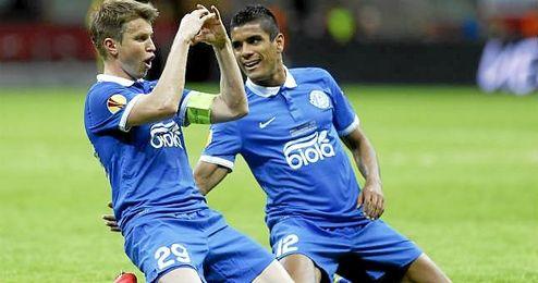 En la imagen, Rotan, autor de uno de los goles del Dnipro en la final de la UEL ante el Sevilla.