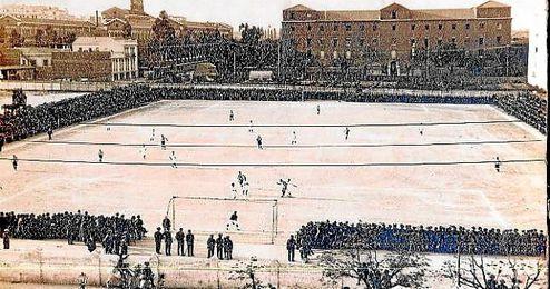 Imagen de la eliminatoria de 1921, que se jug� �ntegramente en Madrid y que el Sevilla perdi� en los despachos.