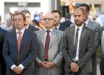 Los expresidentes Rosell, Vilarruvi y el exentrenador Guardiola.