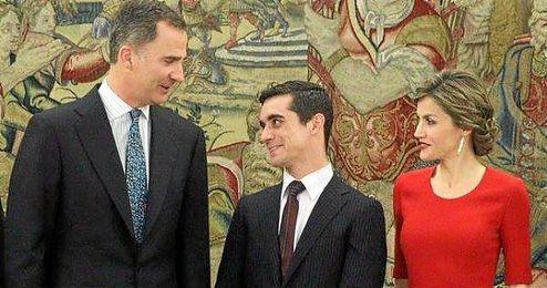 Javier Fernández junto al Rey Felipe y a la Princesa Letizia.