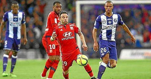Valbuena, en el partido ante el Toulouse.