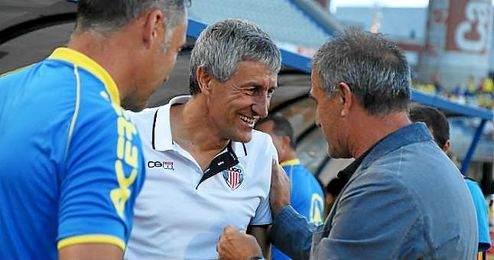 Quique Setién y Paco Herrera, cuando entrenaban al Lugo y a Las Palmas.