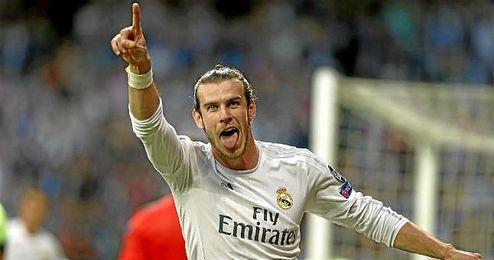 Bale celebra el gol del triunfo blanco ante el City.