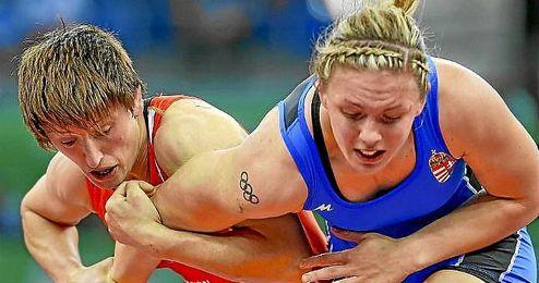 Maider Unda, durante un campeonato de lucha.