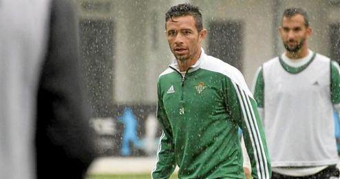 Rubén Castro en el entrenamiento de esta mañana.