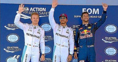 Rosberg, Hamilton y Ricciardo, los más rápidos en la calificación.