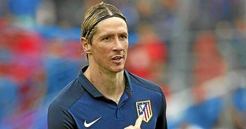 Torres celebra un gol con el Atlético.