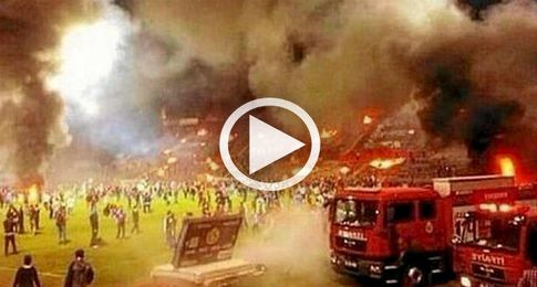 Captura del incendio del estadio.