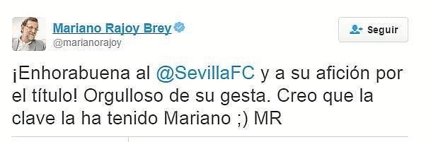 Rajoy felicitó al Sevilla.