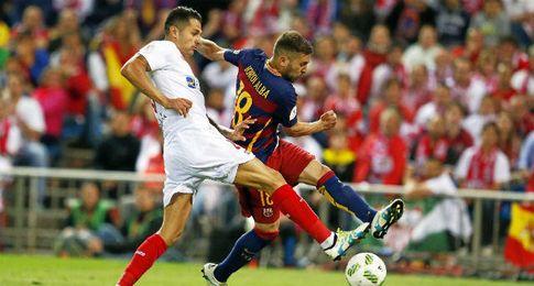 Vitolo, en el gol de Alba.