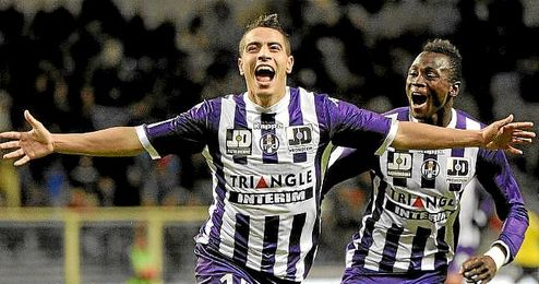 Ben Yedder celebra un gol con la camiseta del Toulouse