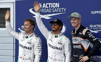 Rosberg, Hamilton y Hulkenberg.