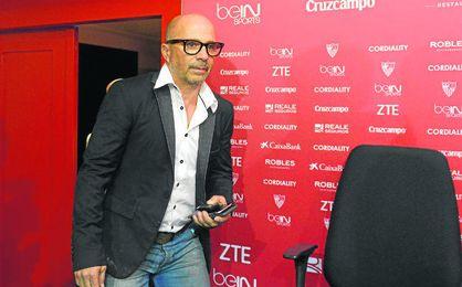 Sampaoli, en su presentaci�n como t�cnico del Sevilla.