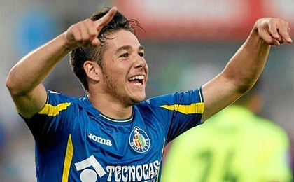 El centrocampista de 19 años celebra un gol con el Getafe.