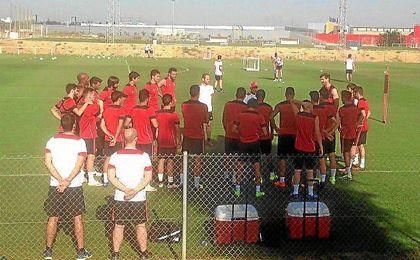 Imagen del entrenamiento de hoy en la ciudad deportiva.