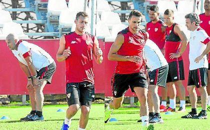 Cristóforo y Juan Muñoz, durante un entrenamiento.