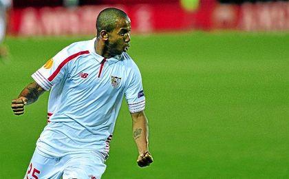 Mariano, celebrando su �nico gol como sevillista, en las �semis� de Europa League.