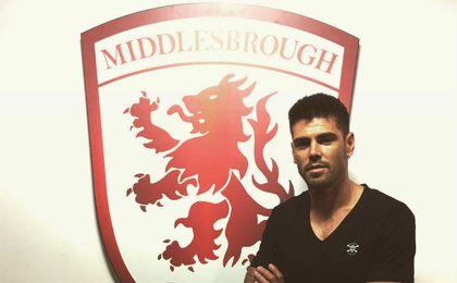 Valdés, en su presentación como nuevo jugador del Middlesbrough.