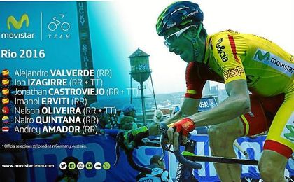 Valverde es uno de los ciclistas que representará a España en los Juegos.