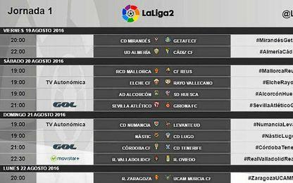 Estos son los horarios de la primera jornada de LaLiga2.