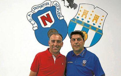 Andrés Millán junto a Melli, director deportivo nervionense, en el día de su presentación.