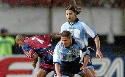 Simeone y Pochettino durante un partido con la selección albiceleste.