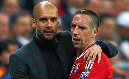 Pep Guardiola y Rib�ry, entrenador y pupilo en el Bayer Munich.