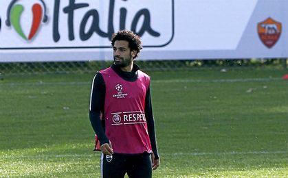 Salah en un entrenamiento con la Roma.
