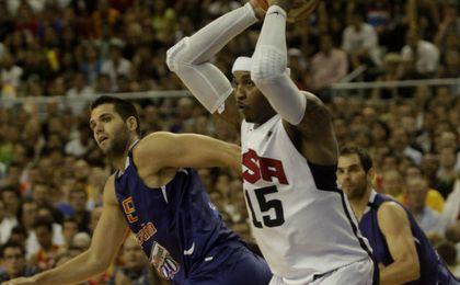 Carmelo durante un partido entre España y Estados Unidos.