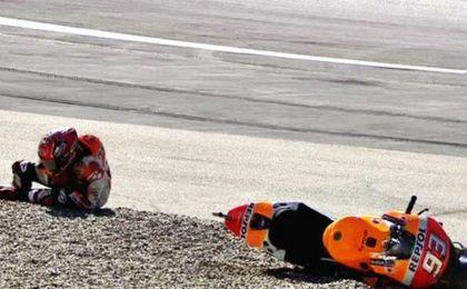 Márquez sufrió una aparatosa caída en Austria.
