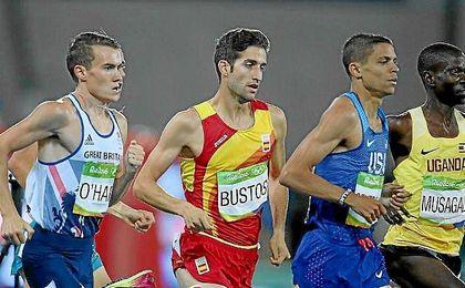 Bustos, durante la final de 1500 metros en Río.
